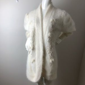 Vintage Ivory Angora Sweater Beaded embroidered